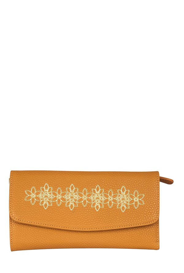 Lavie Path Beige Embroidered Tri-Fold Wallet