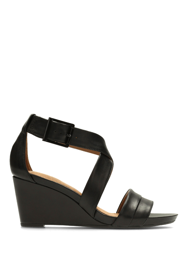 11a27289eb6 Buy Clarks Acina Newport Black Cross Strap Wedges for Women at ...