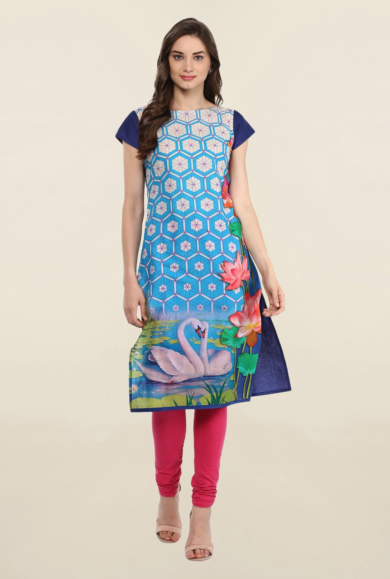 Ahalyaa Blue Cotton Kurti
