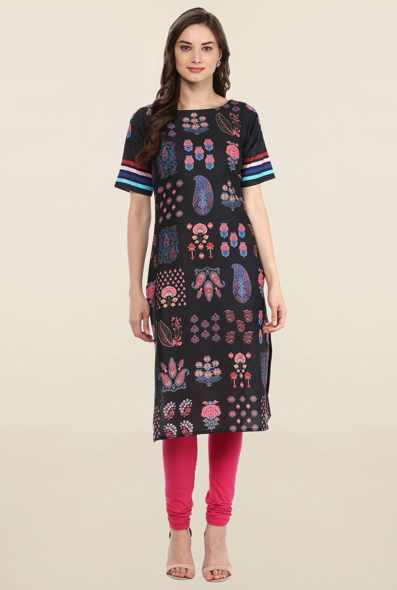Ahalyaa Black Printed Cotton Kurti