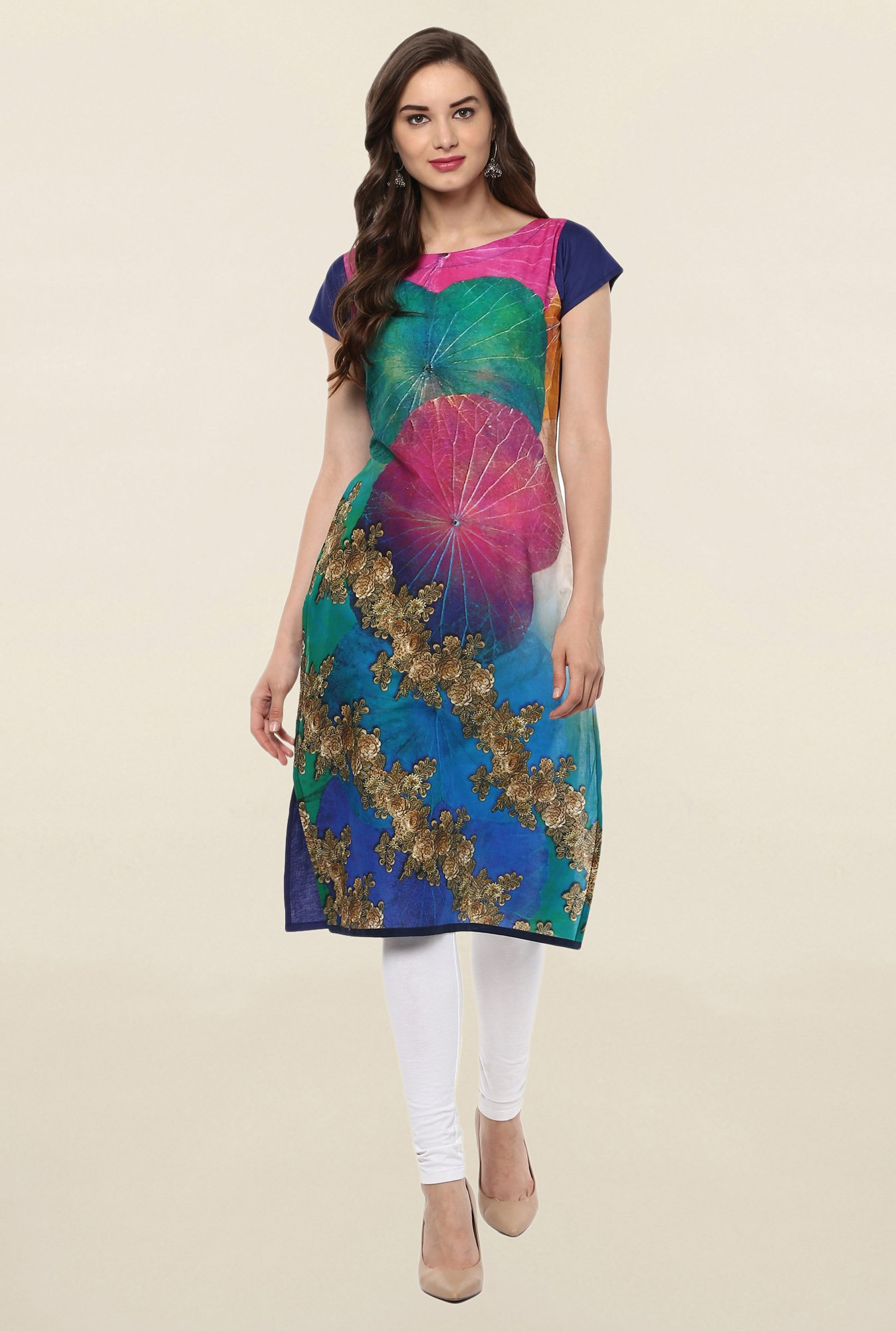 Ahalyaa Multicolor Embellished Cotton Kurti