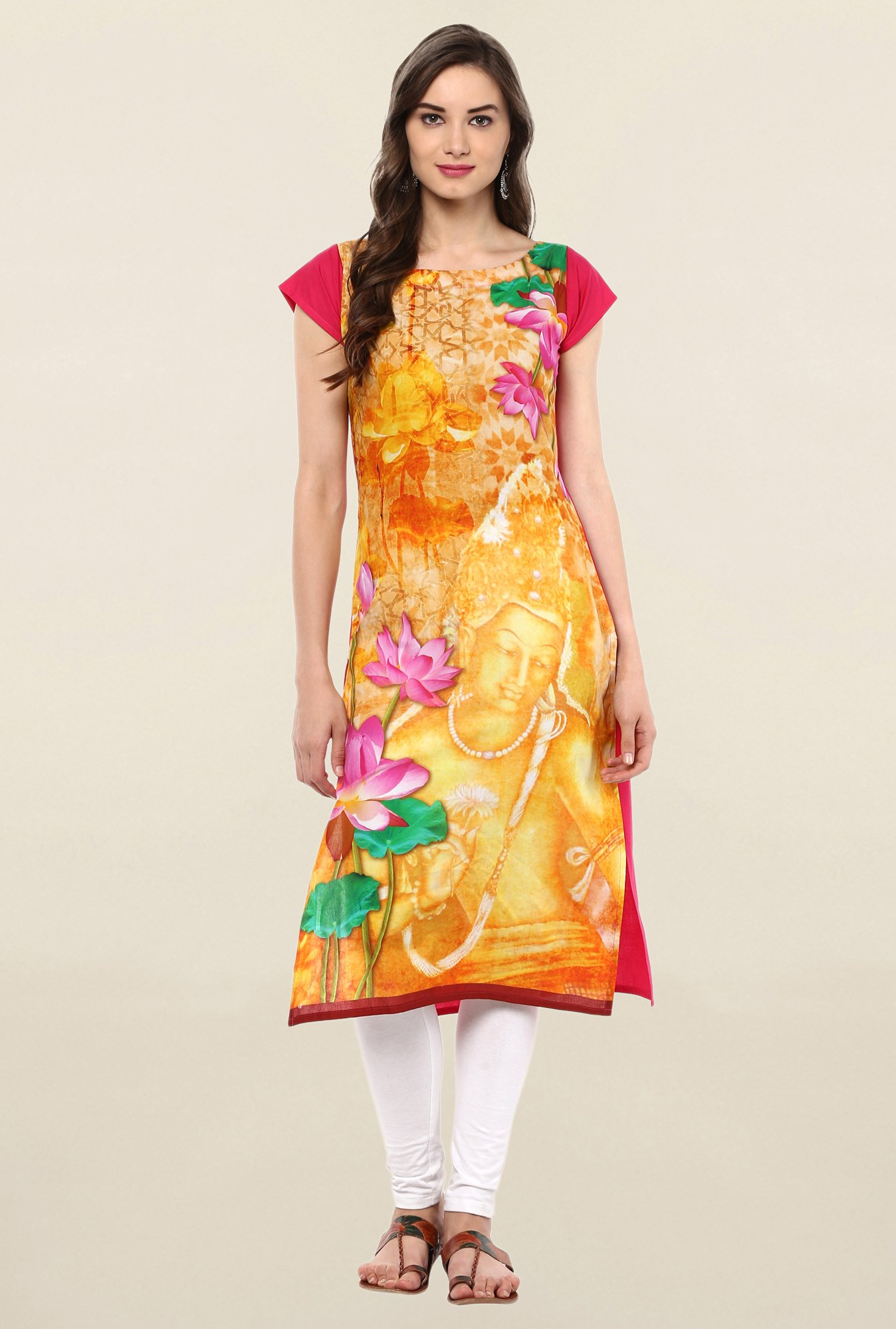 Ahalyaa Yellow Printed Cotton Kurti