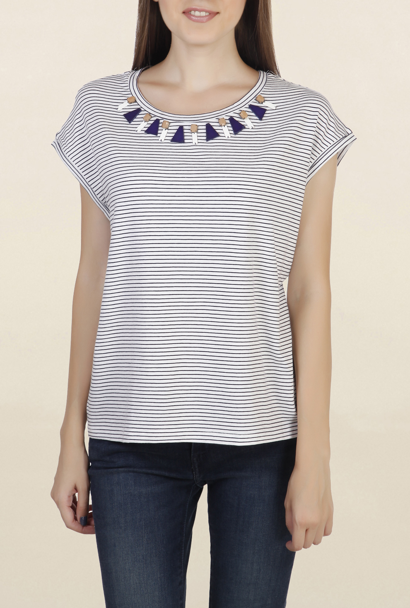 Chemistry Navy & White Striped Top