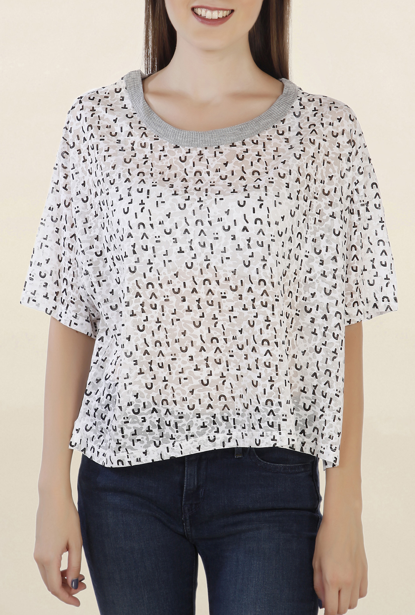 Chemistry Off White Printed Top