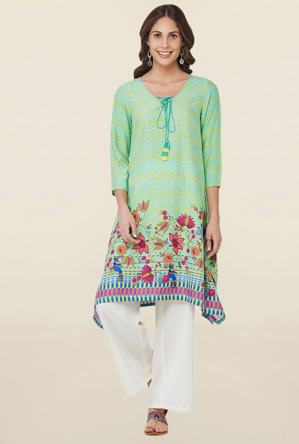 Global Desi Mint Printed Kurta