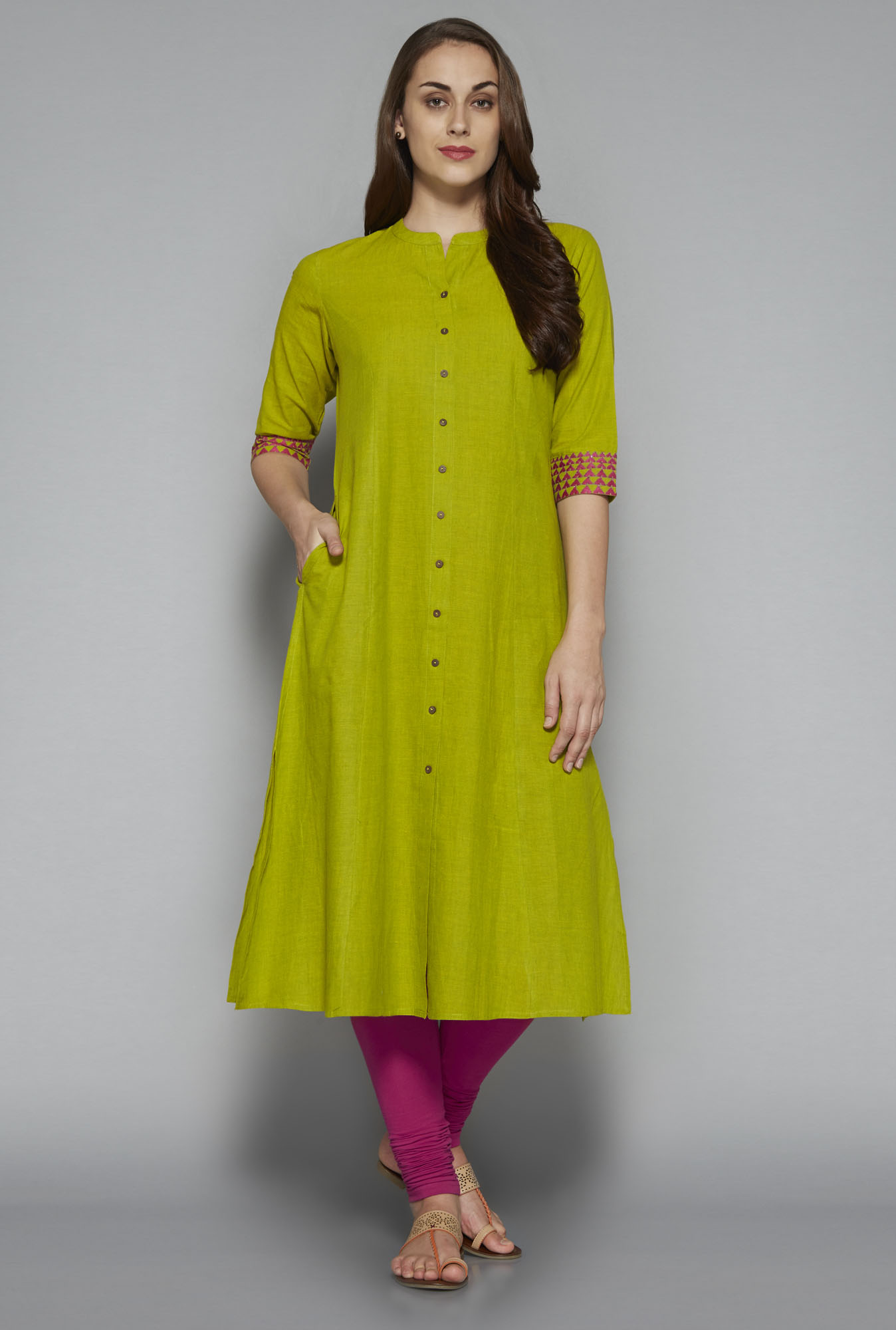 Utsa by Westside Lime Green Solid Kurta