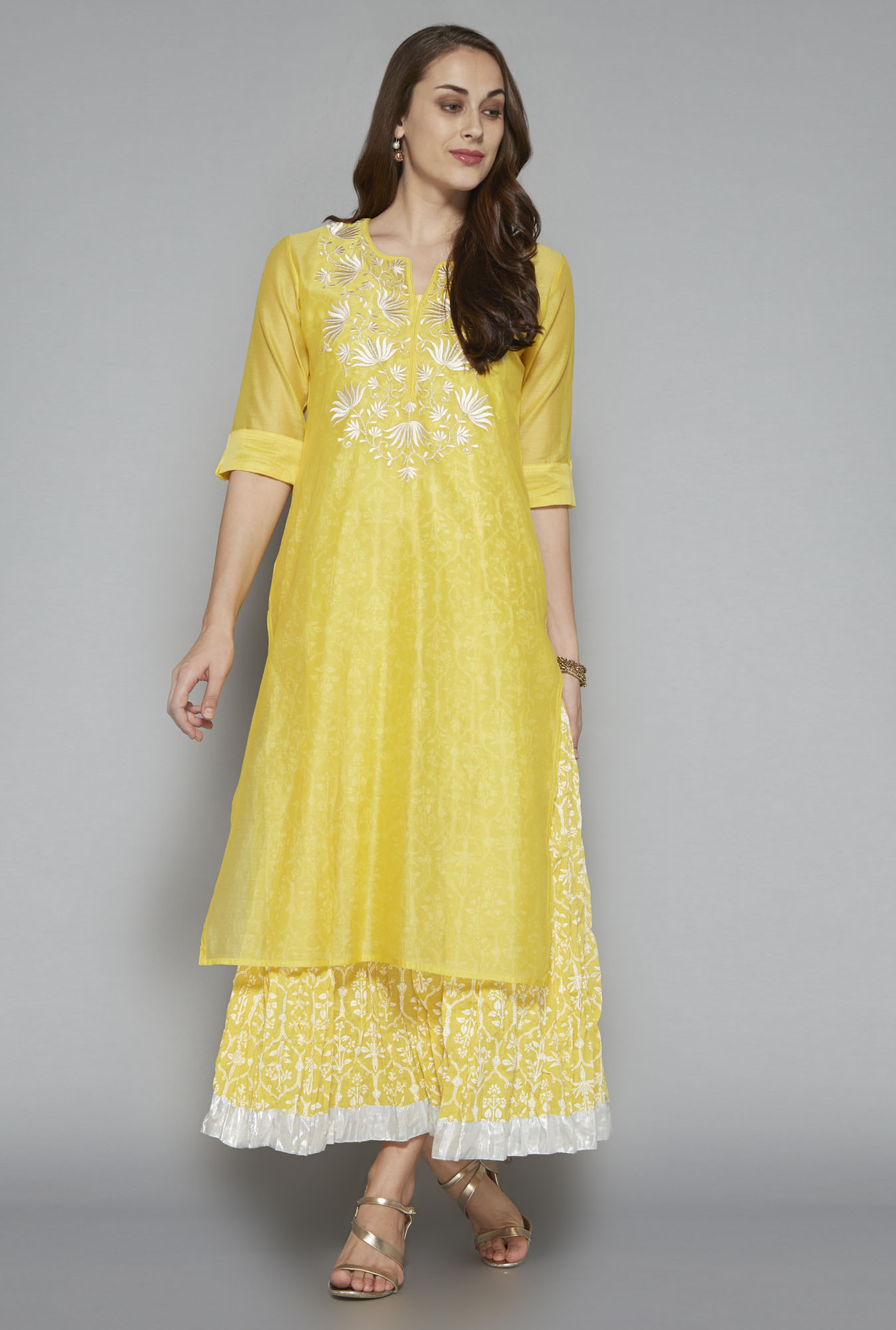Vark by Westside Yellow Embroidered Maxi Suit Set