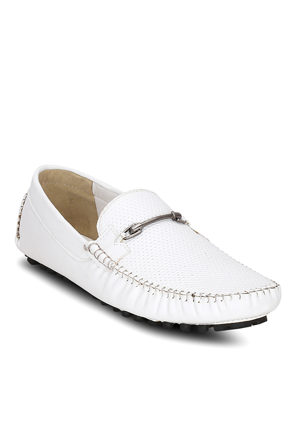 Get Glamr Kelson Horsebit White Loafers