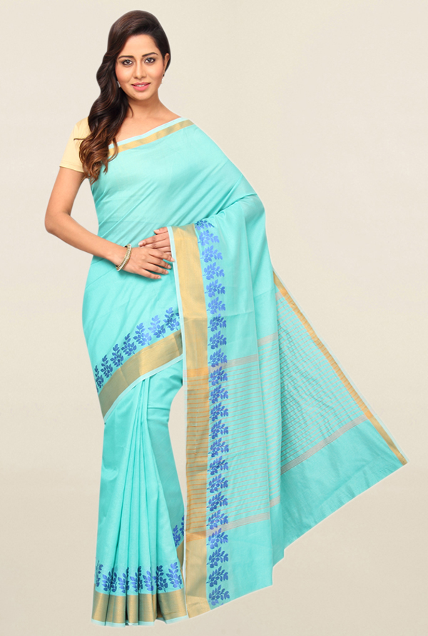 Pavecha's Turquoise Cotton Polyblend Saree With Blouse