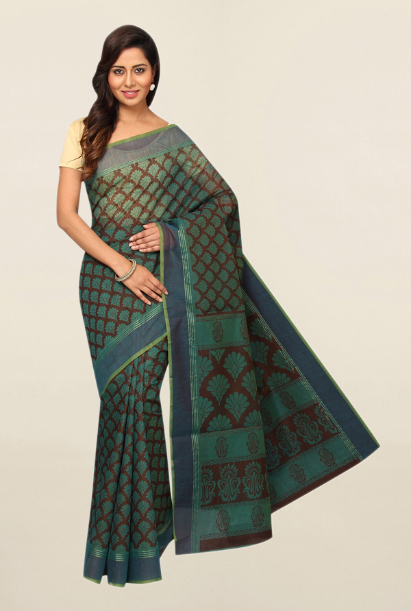 Pavecha's Teal Printed Polyester Saree With Blouse