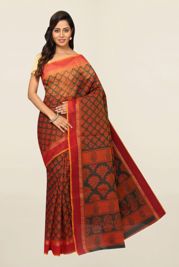Pavecha's Orange Printed Polyester Saree With Blouse