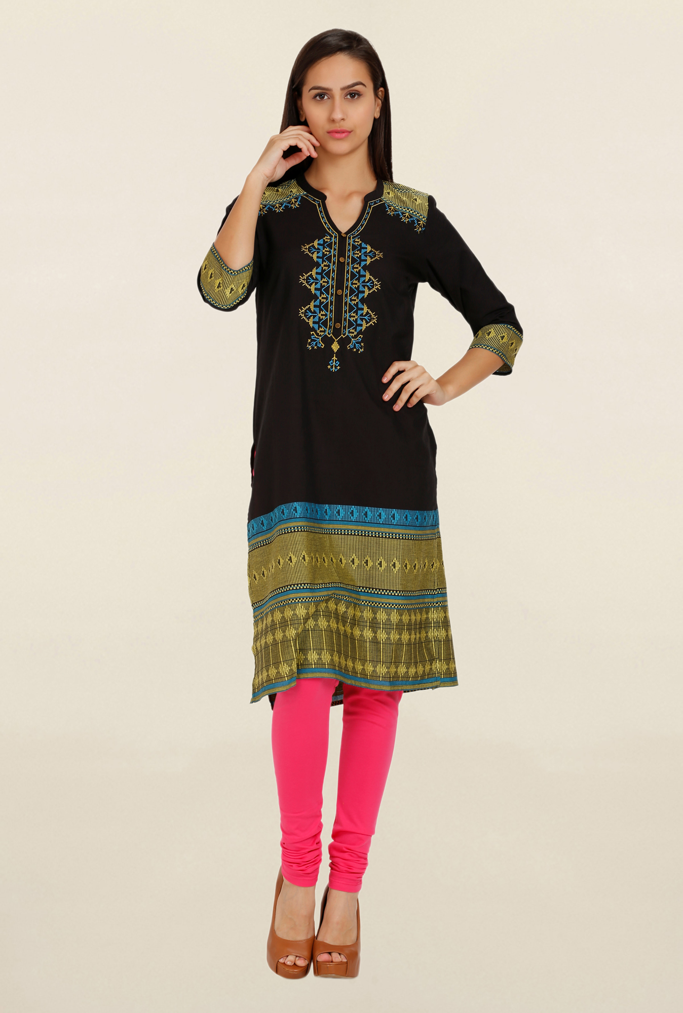 Aurelia Black Embroidered Kurta