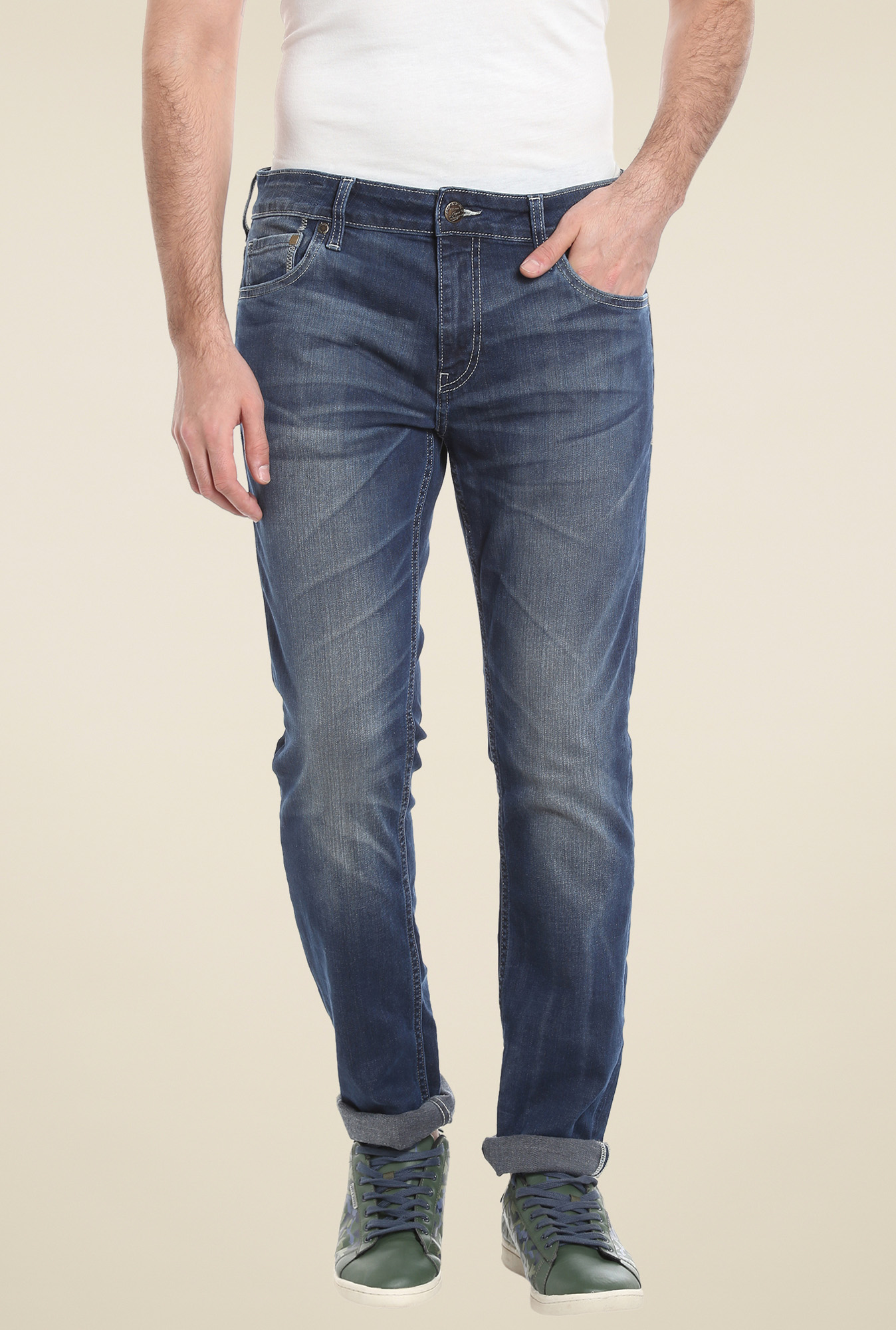 Jack & Jones Dark Blue Low Rise Cotton Jeans