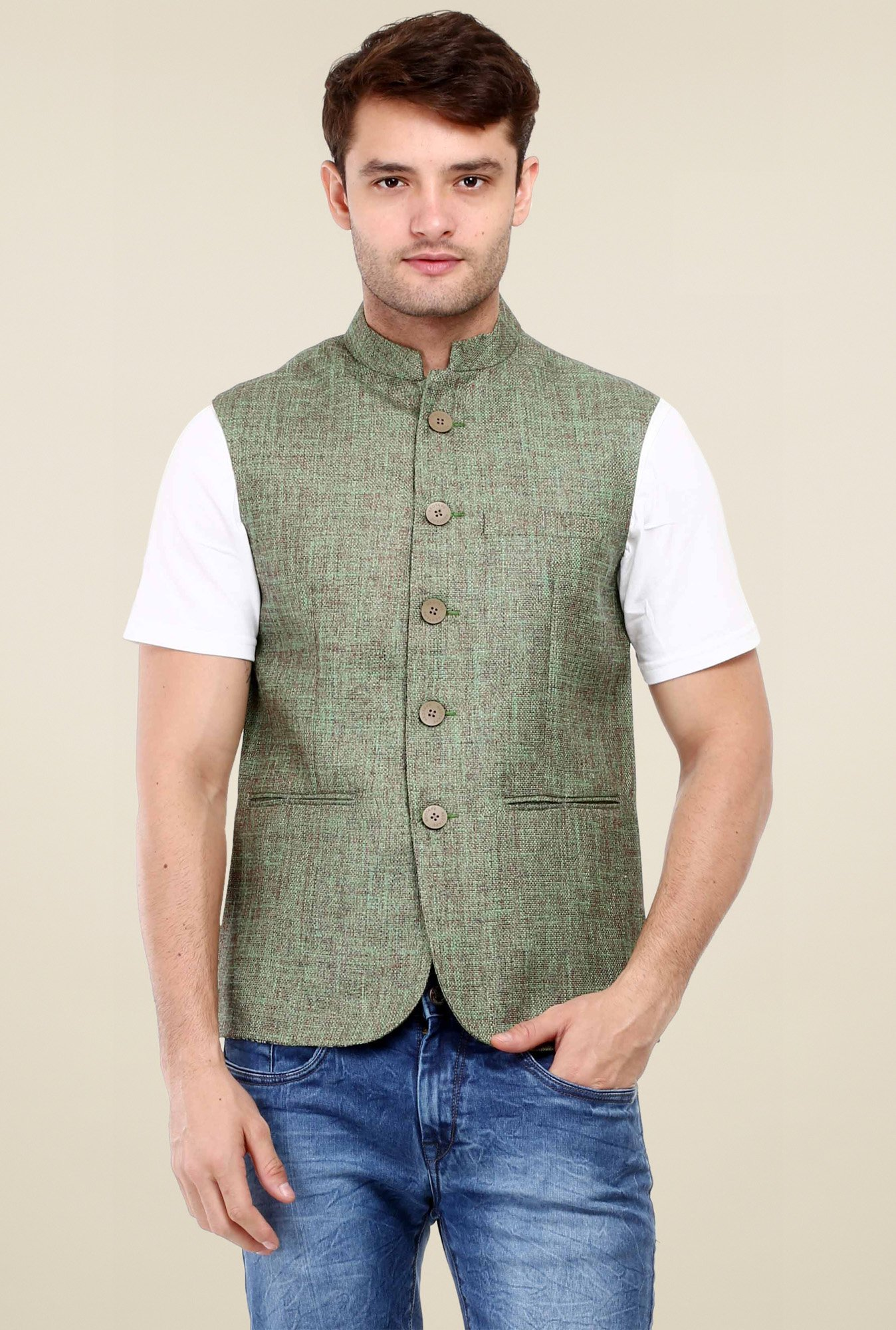 40b24a5fe9aa93 Buy Red Tape Green Sleeveless Smart Fit Nehru Jacket for Men ...