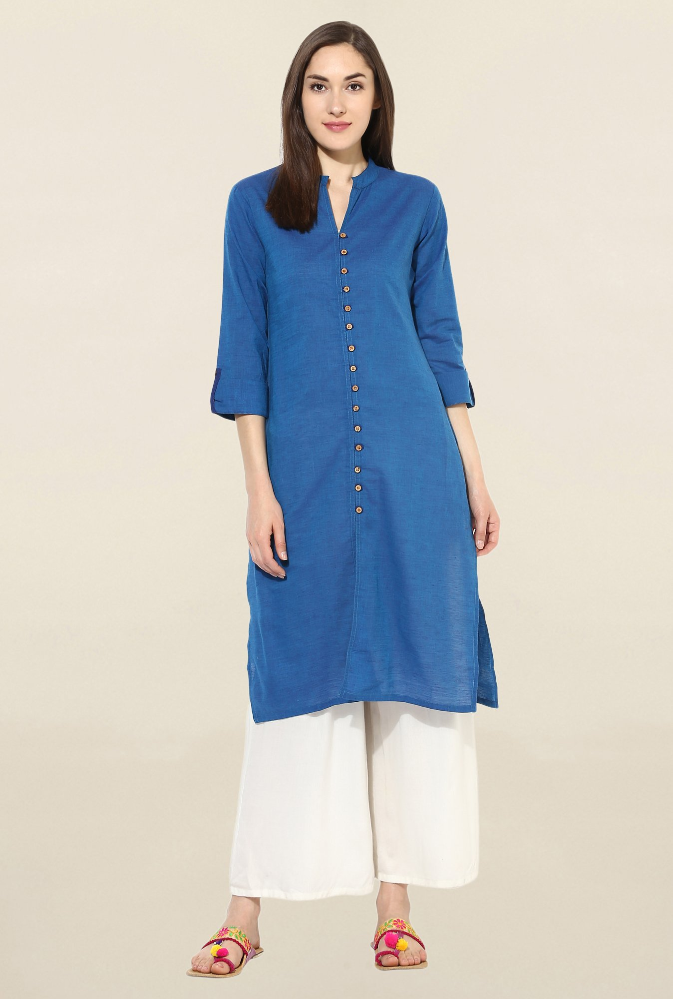 Mytri Blue Solid South Cotton Kurta