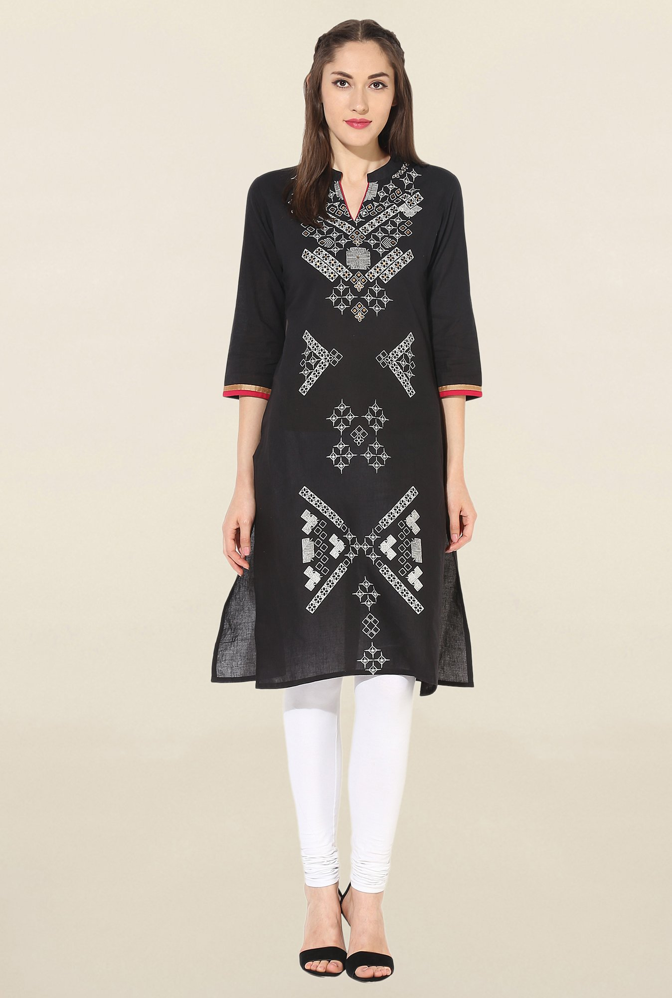 Mytri Black Printed South Cotton Kurta