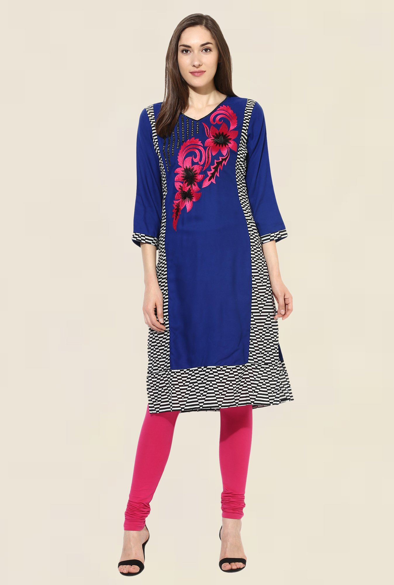 Mytri Royal Blue Embroidered Rayon Kurta