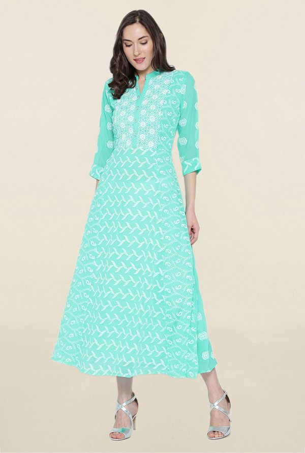 Shree Turquoise Embroidered Kurta