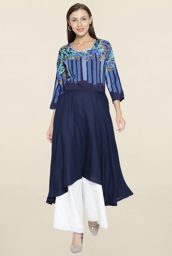 Shree Navy Printed Kurta