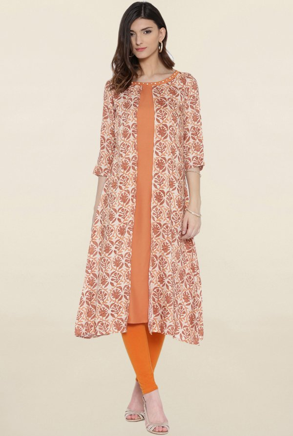 Shree Orange Printed Kurta