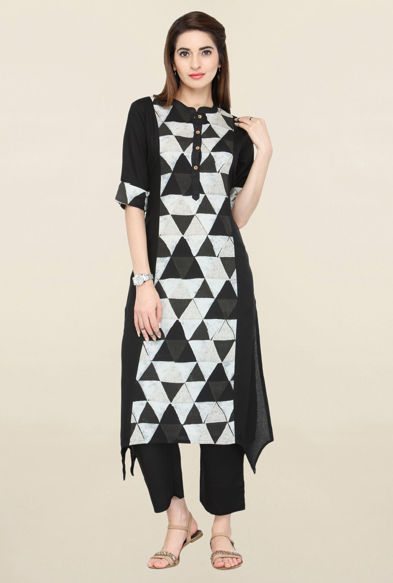 Varanga Black Geometric Print Kurta With Pants