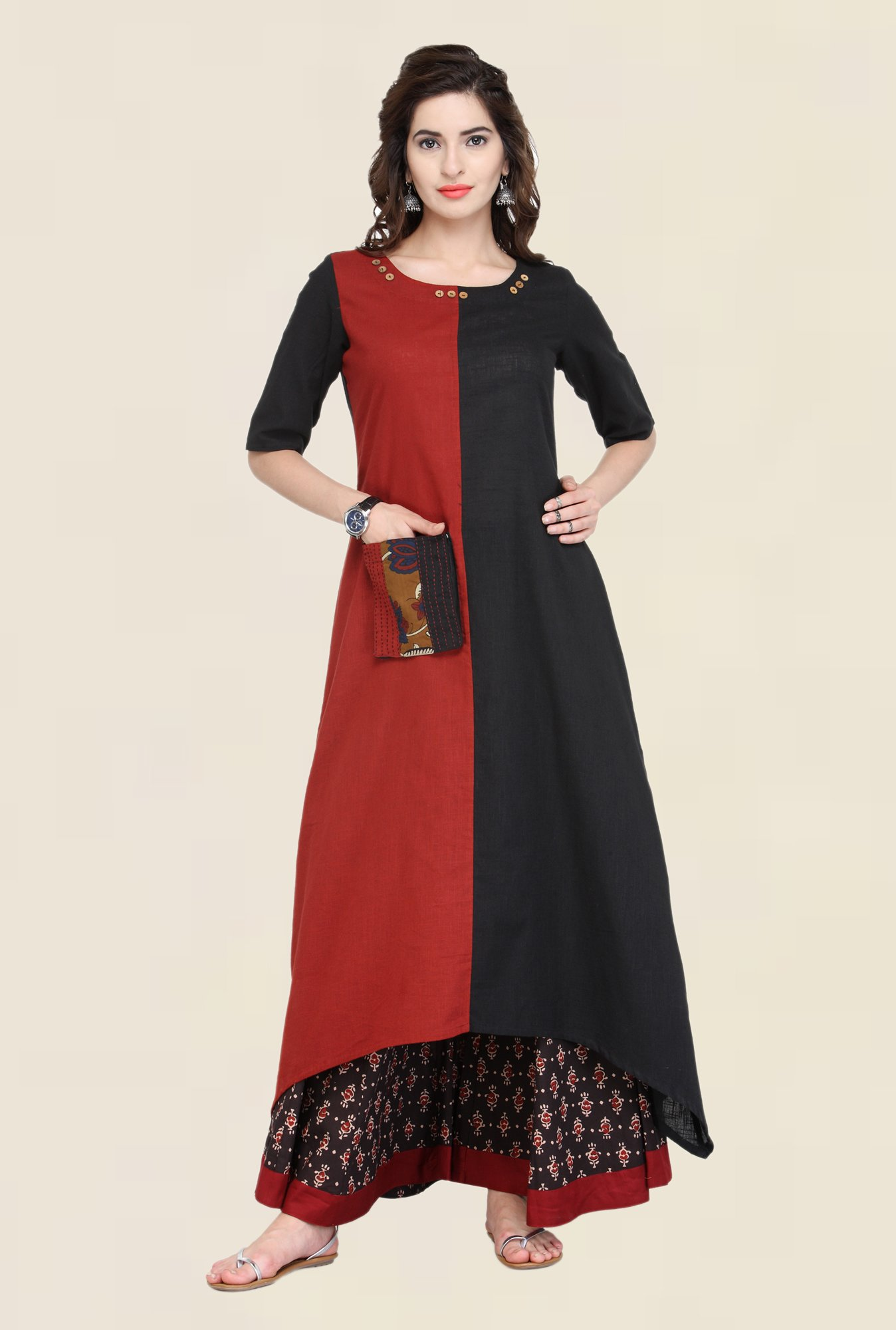 Varanga Black Solid Cotton Kurta