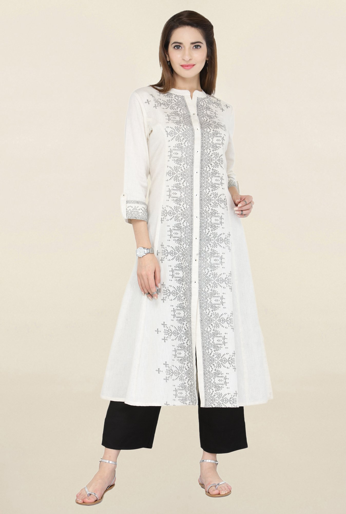 Varanga White & Black Printed Kurta With Pants