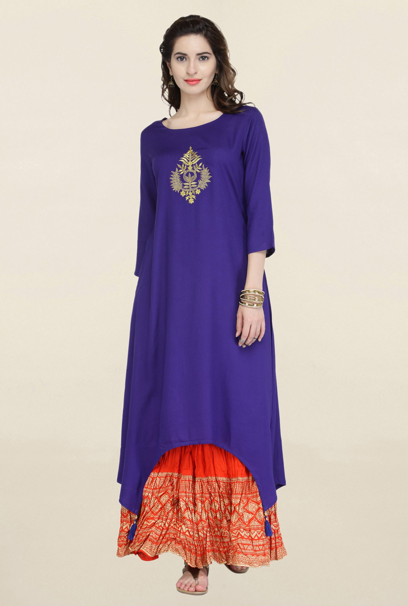 Varanga Blue & Red Embroidered Kurta With Skirt