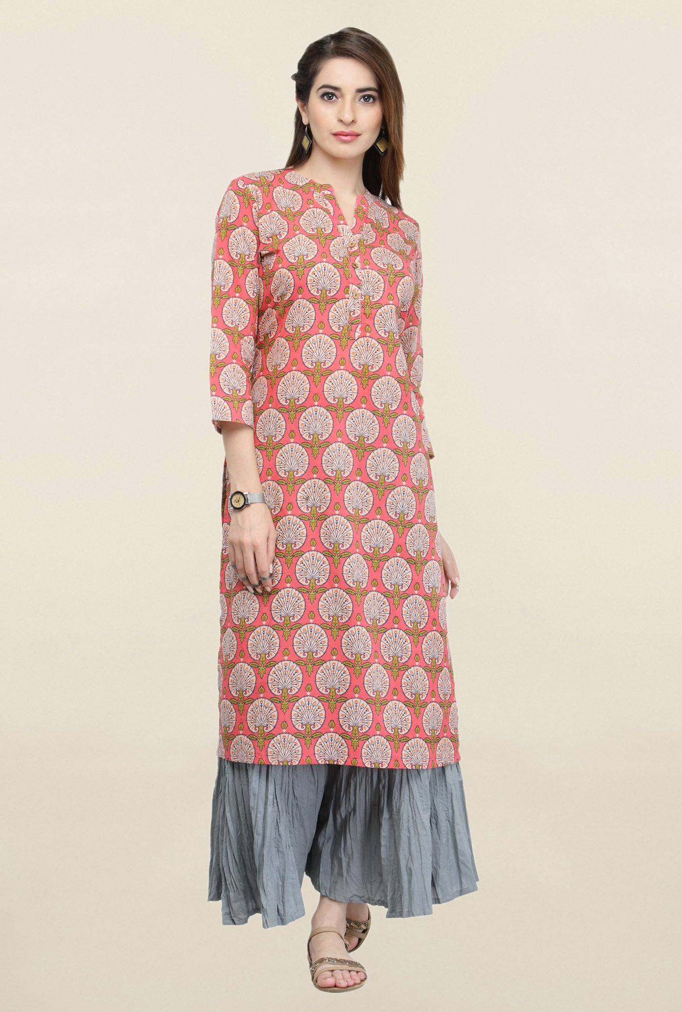 Varanga Peach & Grey Printed Kurta With Palazzo