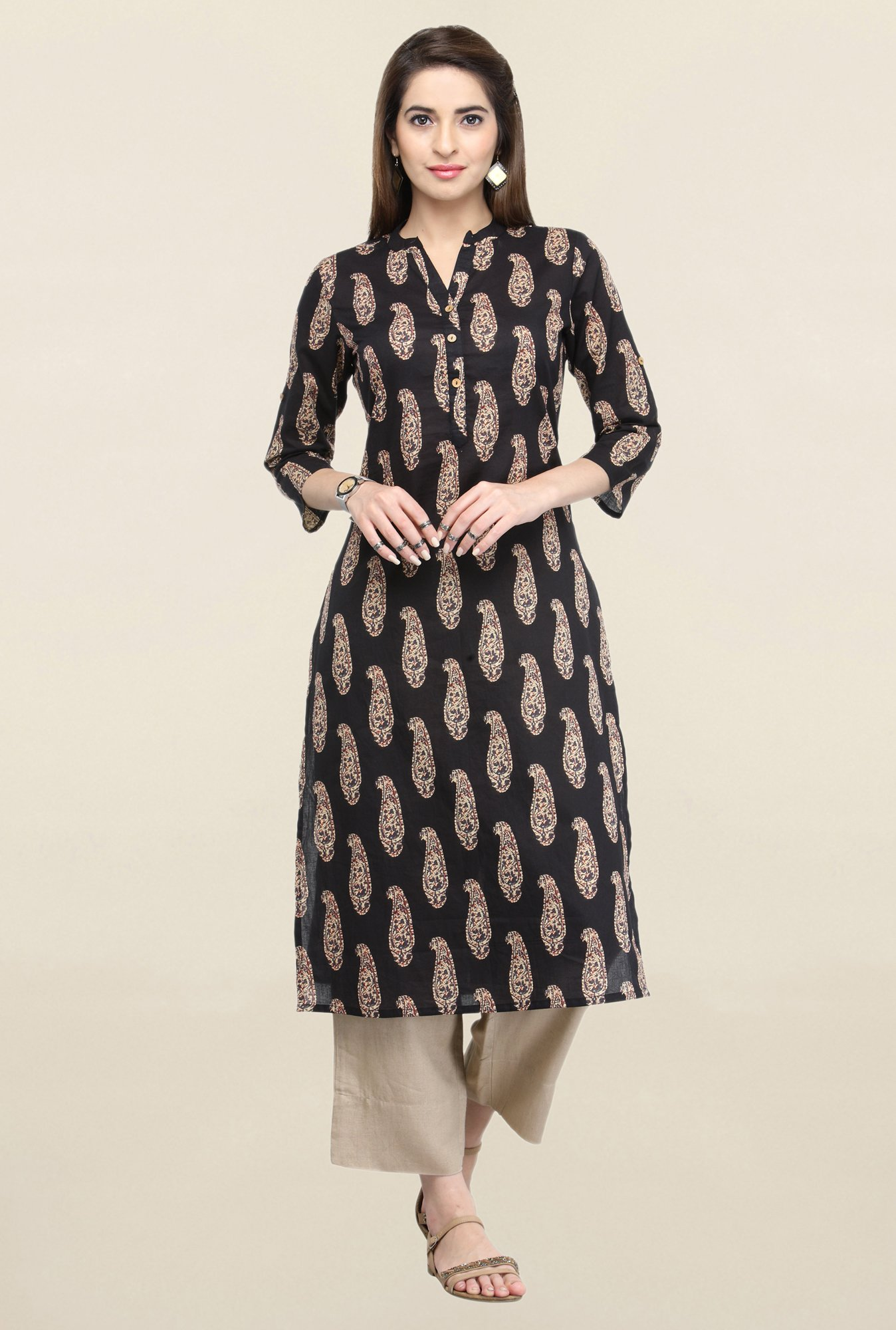 Varanga Black & Beige Printed Kurta With Pants