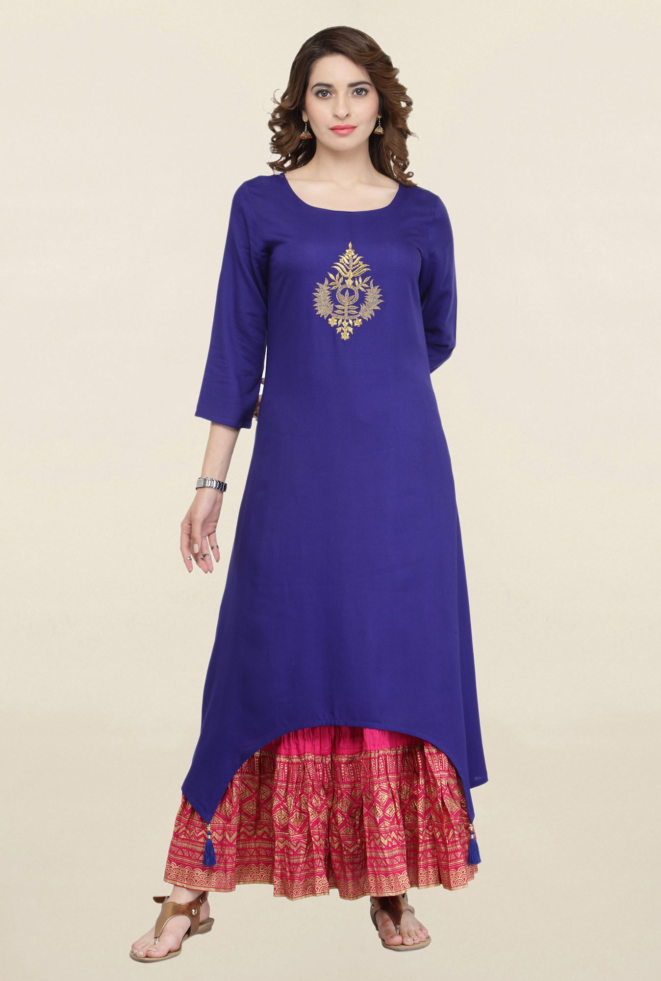 Varanga Blue & Pink Embroidered Kurta With Skirt
