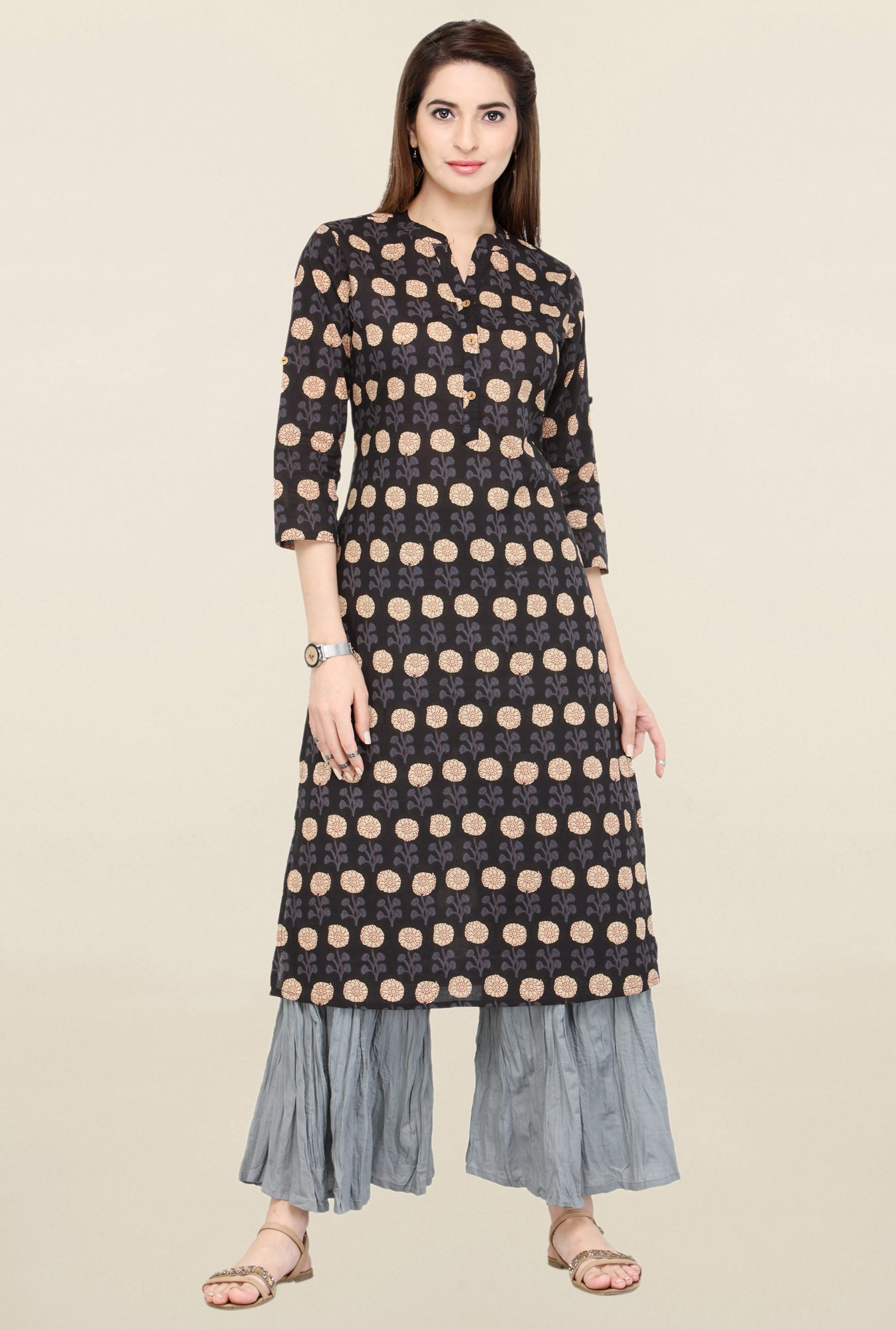 Varanga Black & Grey Printed Kurta With Palazzo