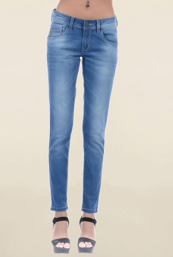 Pepe Jeans Blue Slim Fit Lightly Washed Low Rise Jeans