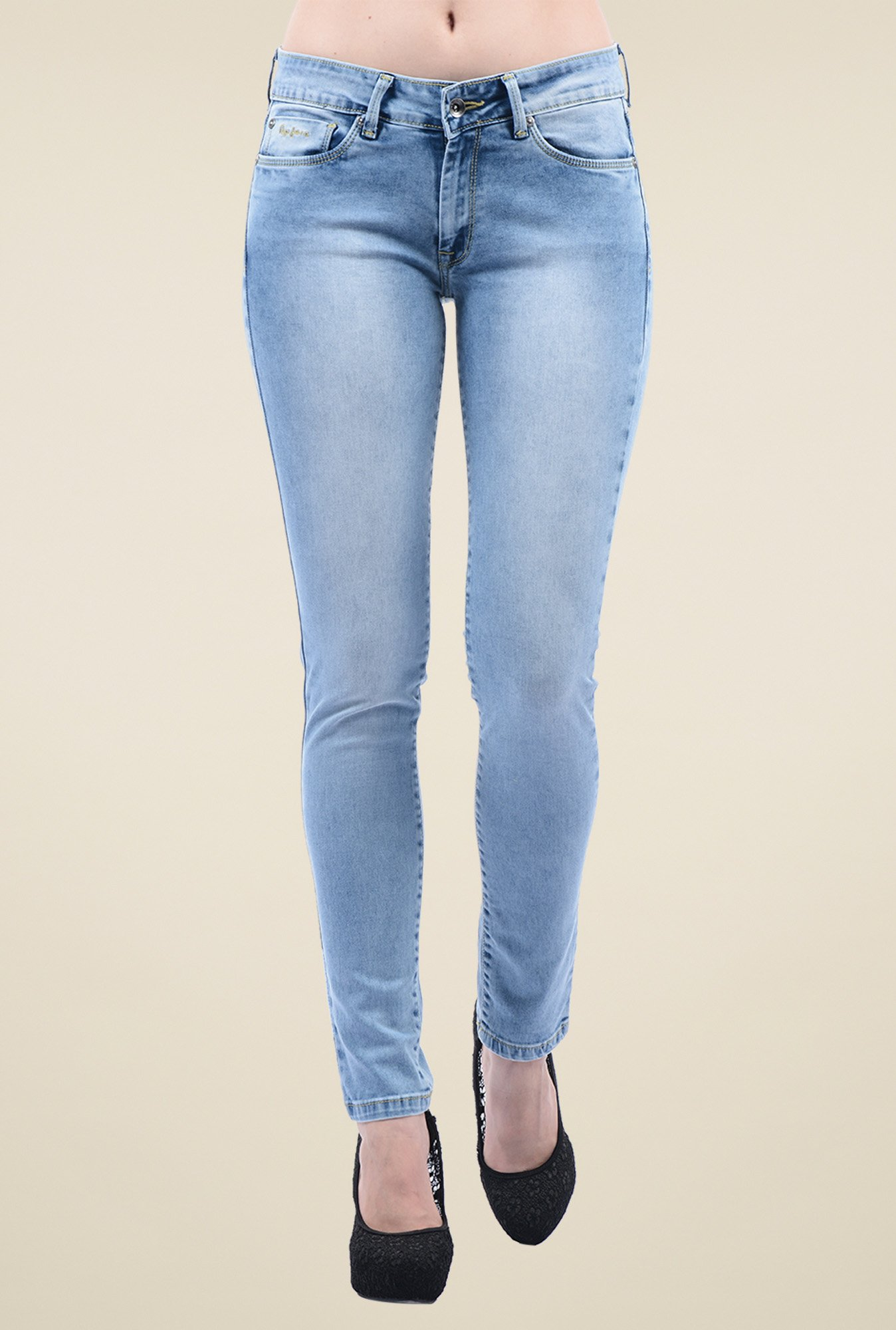 Pepe Jeans Blue Heavily Washed Slim Fit Jeans