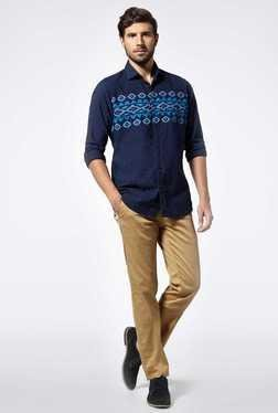 Easies Blue Cotton Casual Shirt