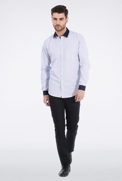 Basics White Micro Checkered Formal Shirt