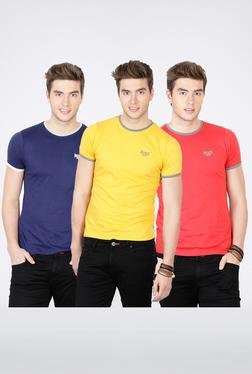 Basics Yellow & Red Crew Neck T-Shirt Pack Of 3