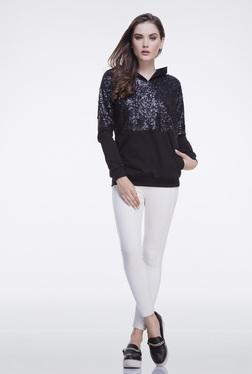 FEMELLA Black Sequins Hoodie Sweatshirt