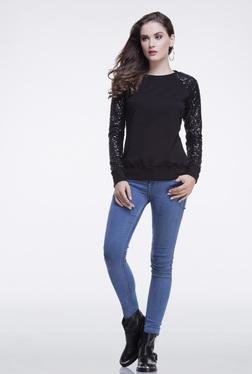 FEMELLA Black Sequins Sweatshirt