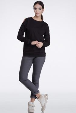 FEMELLA Black Cold Shoulder Sweatshirt