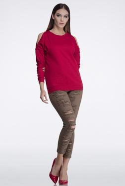 FEMELLA Maroon Cold Shoulder Sweatshirt