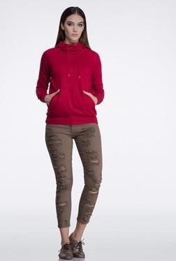 FEMELLA Maroon Cowl Neck Sweatshirt