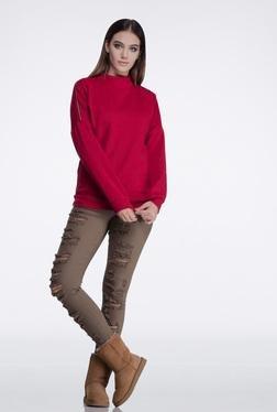 FEMELLA Maroon Side Zipper Sweatshirt