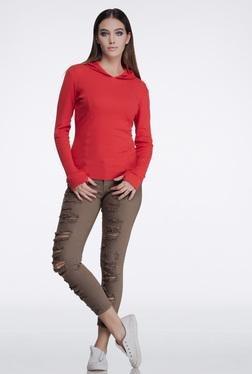 FEMELLA Red Rib Hoodie - Mp000000000007465