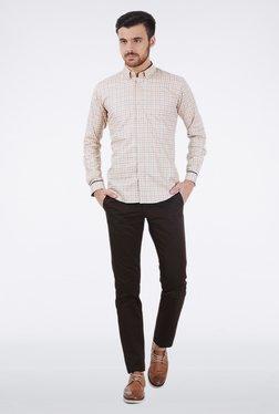 Basics Beige Gingham Checkered Shirt