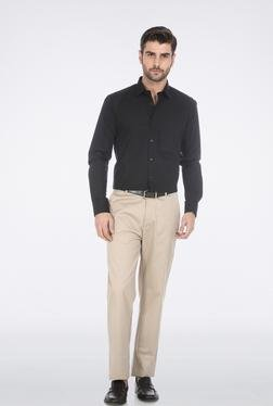 Basics Beige Poly Cotton Formal Trouser