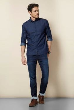 Celio* Indigo Cotton Casual Shirt