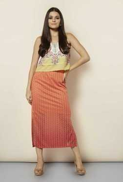 109 F Orange Self Casual Skirt
