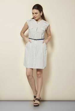109 F Beige Pin Stripes Casual Dress