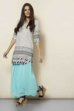109 F Turquoise Solid Casual Skirt